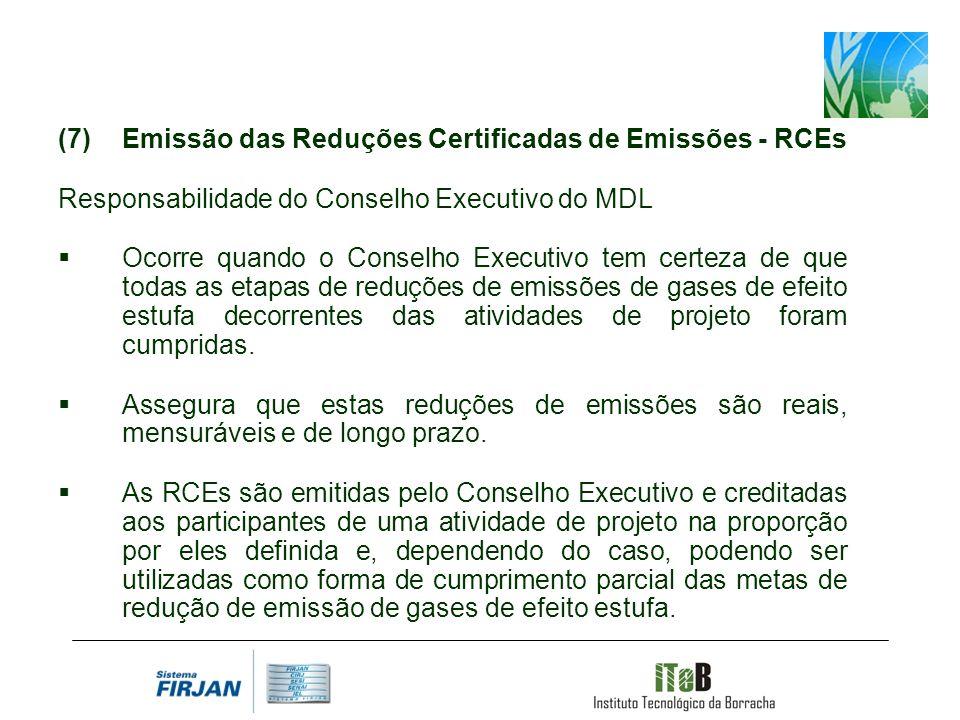 Emissão das Reduções Certificadas de Emissões - RCEs Responsabilidade do Conselho Executivo do MDL Ocorre quando o Conselho Executivo tem certeza de que todas as etapas de reduções de emissões de gases de efeito estufa decorrentes das atividades de projeto foram cumpridas.