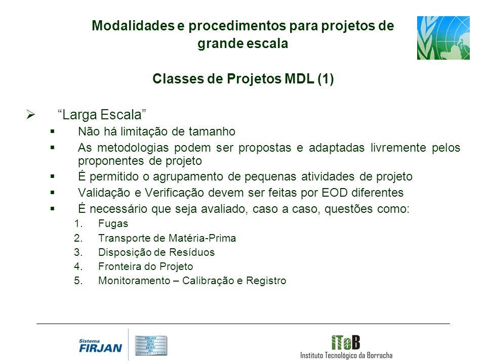 Modalidades e procedimentos para projetos de grande escala Classes de Projetos MDL (1) Larga Escala Não há limitação de tamanho As metodologias podem