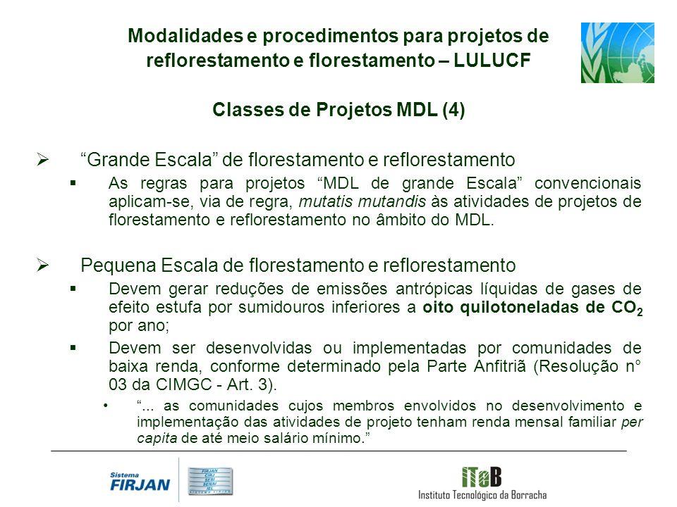 Modalidades e procedimentos para projetos de reflorestamento e florestamento – LULUCF Classes de Projetos MDL (4) Grande Escala de florestamento e ref