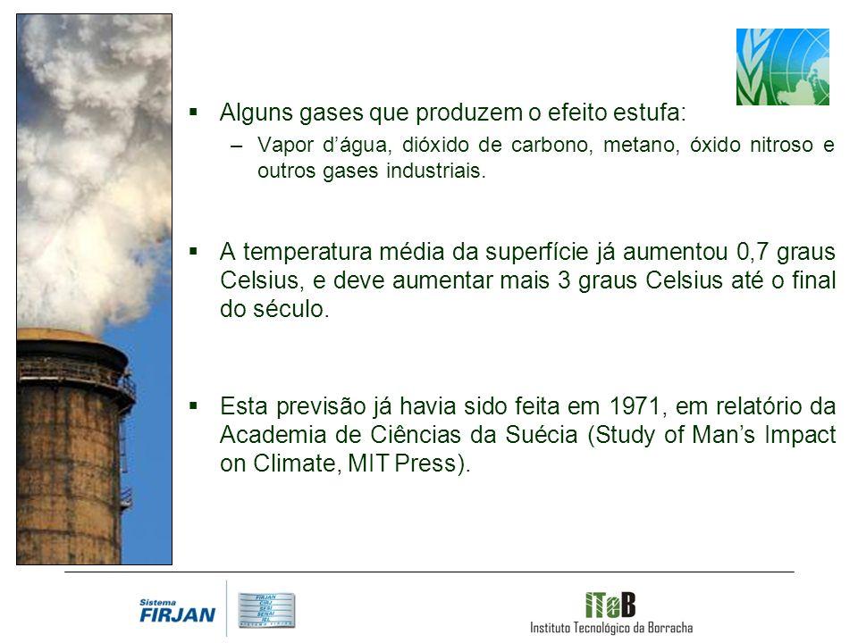 Alguns gases que produzem o efeito estufa: –Vapor dágua, dióxido de carbono, metano, óxido nitroso e outros gases industriais.