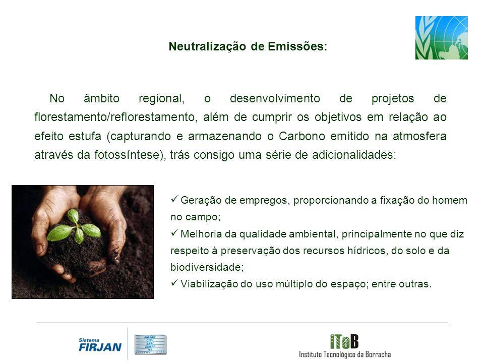 Neutralização de Emissões: No âmbito regional, o desenvolvimento de projetos de florestamento/reflorestamento, além de cumprir os objetivos em relação