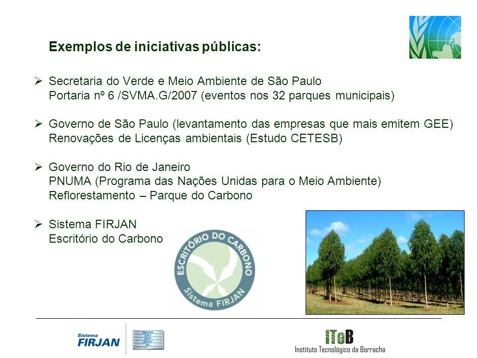 Exemplos de iniciativas públicas: Secretaria do Verde e Meio Ambiente de São Paulo Portaria nº 6 /SVMA.G/2007 (eventos nos 32 parques municipais) Governo de São Paulo (levantamento das empresas que mais emitem GEE) Renovações de Licenças ambientais (Estudo CETESB) Governo do Rio de Janeiro PNUMA (Programa das Nações Unidas para o Meio Ambiente) Reflorestamento – Parque do Carbono Sistema FIRJAN Escritório do Carbono