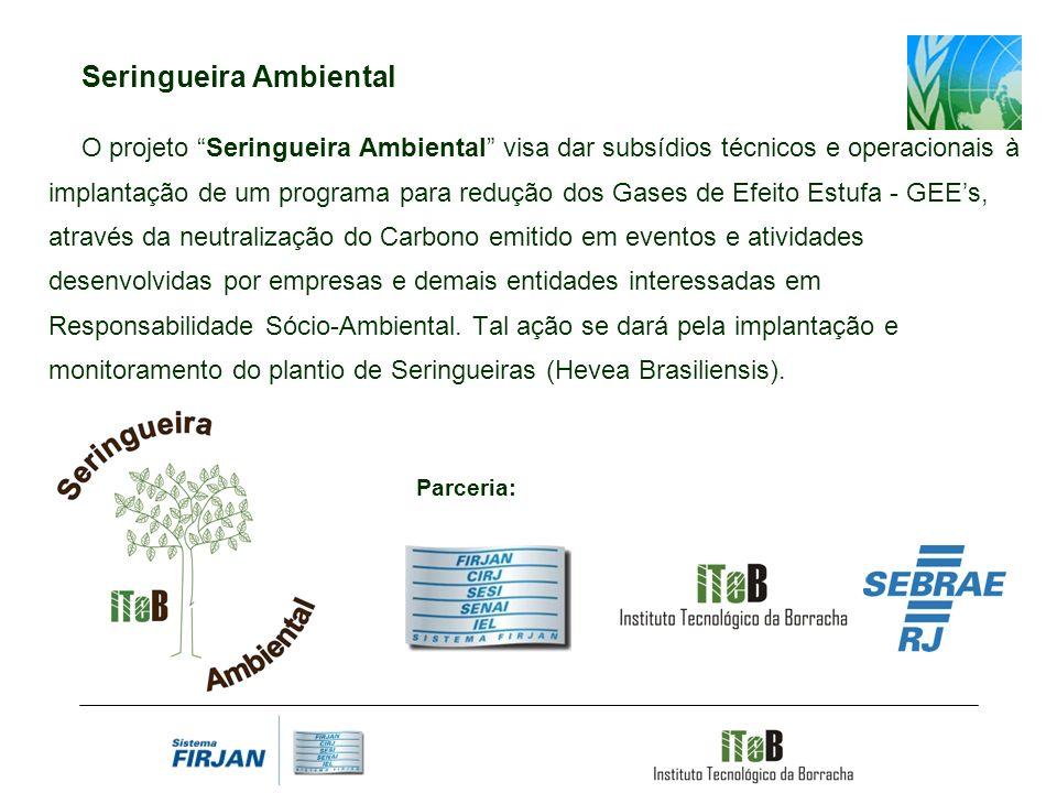 Seringueira Ambiental O projeto Seringueira Ambiental visa dar subsídios técnicos e operacionais à implantação de um programa para redução dos Gases d