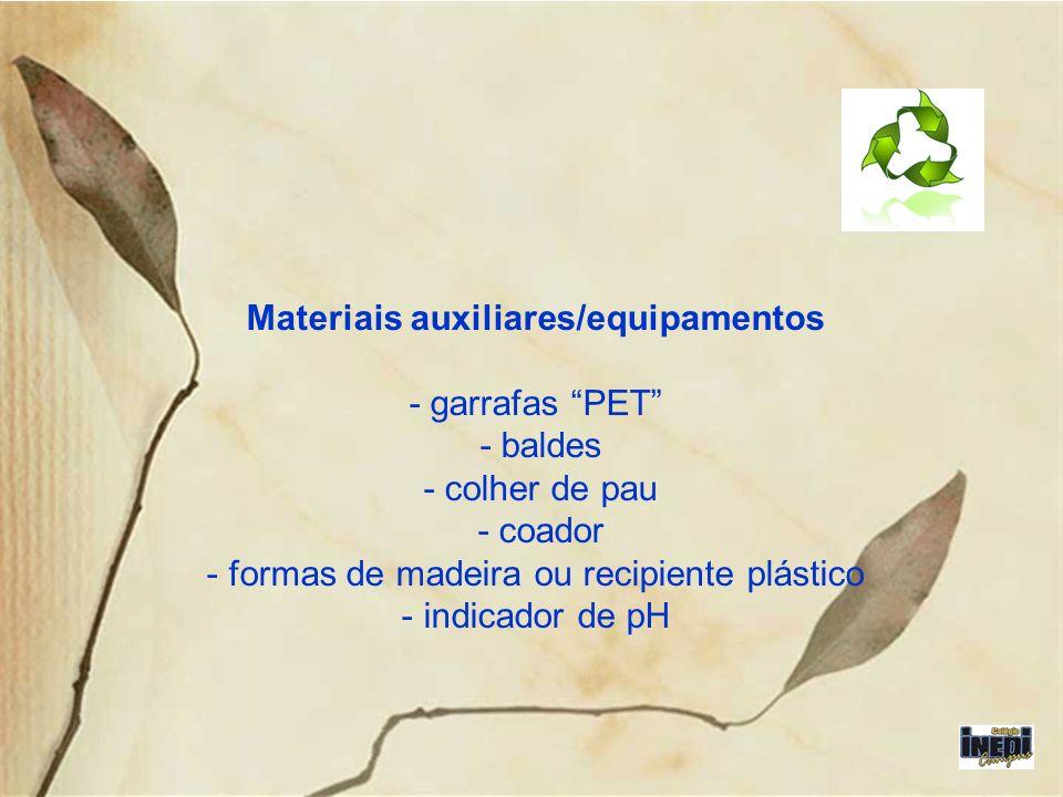 Materiais auxiliares/equipamentos - garrafas PET - baldes - colher de pau - coador - formas de madeira ou recipiente plástico - indicador de pH