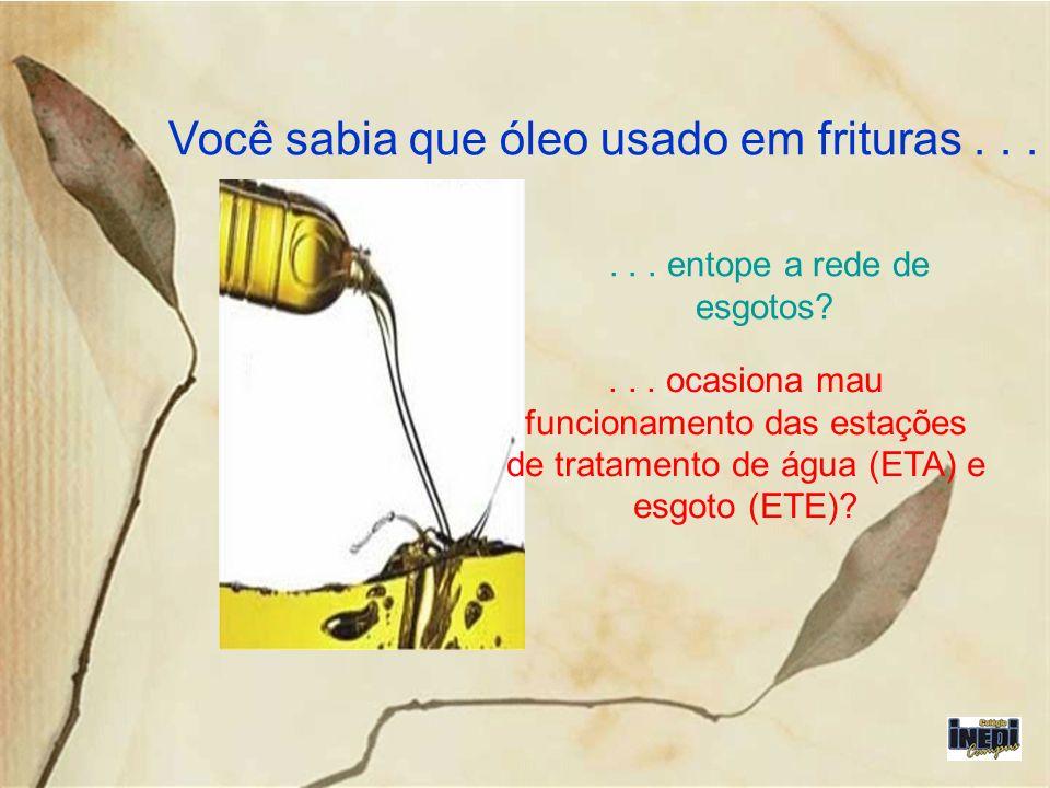 Você sabia que óleo usado em frituras...... entope a rede de esgotos?... ocasiona mau funcionamento das estações de tratamento de água (ETA) e esgoto