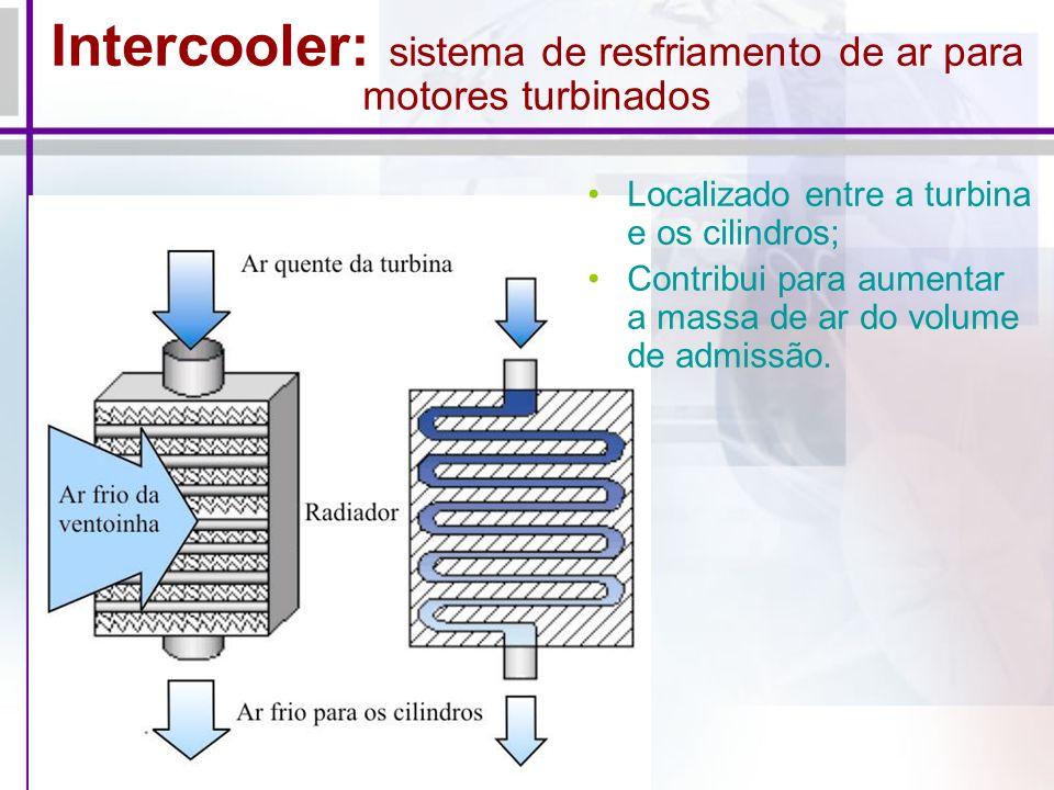 Intercooler: sistema de resfriamento de ar para motores turbinados Localizado entre a turbina e os cilindros; Contribui para aumentar a massa de ar do volume de admissão.