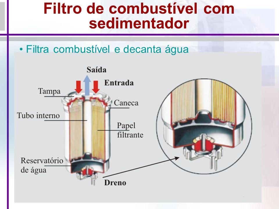 Filtro de combustível com sedimentador Filtra combustível e decanta água