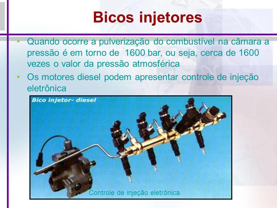Bicos injetores Quando ocorre a pulverização do combustível na câmara a pressão é em torno de 1600 bar, ou seja, cerca de 1600 vezes o valor da pressão atmosférica Os motores diesel podem apresentar controle de injeção eletrônica Controle de injeção eletrônica