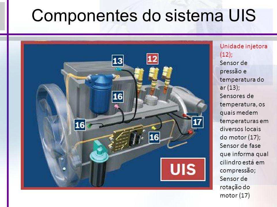 Componentes do sistema UIS Unidade injetora (12); Sensor de pressão e temperatura do ar (13); Sensores de temperatura, os quais medem temperaturas em diversos locais do motor (17); Sensor de fase que informa qual cilindro está em compressão; Sensor de rotação do motor (17)