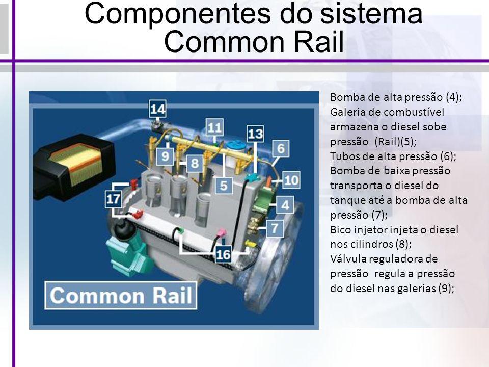 Componentes do sistema Common Rail Bomba de alta pressão (4); Galeria de combustível armazena o diesel sobe pressão (Rail)(5); Tubos de alta pressão (6); Bomba de baixa pressão transporta o diesel do tanque até a bomba de alta pressão (7); Bico injetor injeta o diesel nos cilindros (8); Válvula reguladora de pressão regula a pressão do diesel nas galerias (9);