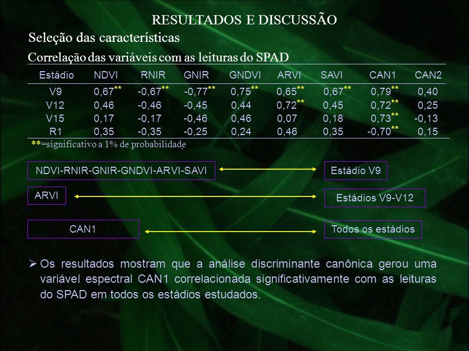 RESULTADOS E DISCUSSÃO Seleção das características **=significativo a 1% de probabilidade. Correlação das variáveis com as leituras do SPAD EstádioNDV