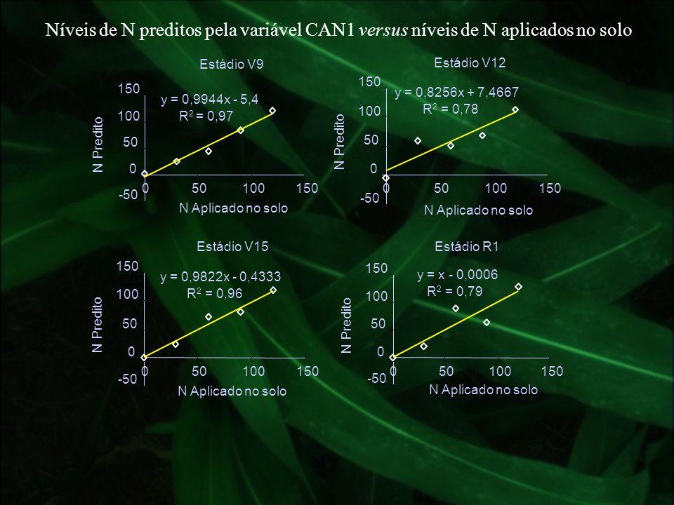 Níveis de N preditos pela variável CAN1 versus níveis de N aplicados no solo