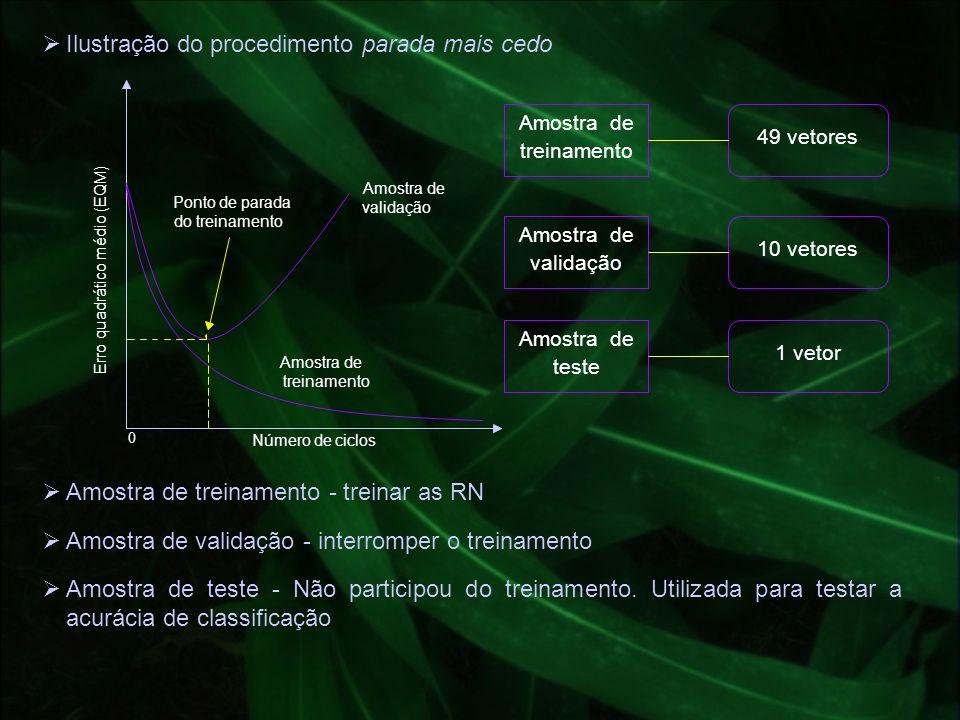 Ilustração do procedimento parada mais cedo 0 Número de ciclos Amostra de treinamento Amostra de validação Ponto de parada do treinamento Erro quadrát