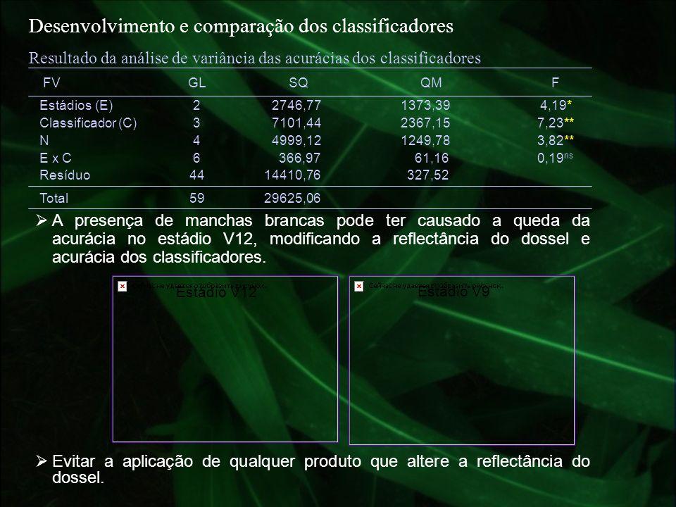 Desenvolvimento e comparação dos classificadores Estádio V12 Evitar a aplicação de qualquer produto que altere a reflectância do dossel. Estádio V9 A