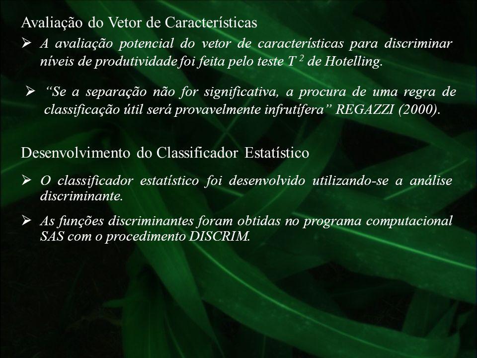 Avaliação do Vetor de Características A avaliação potencial do vetor de características para discriminar níveis de produtividade foi feita pelo teste