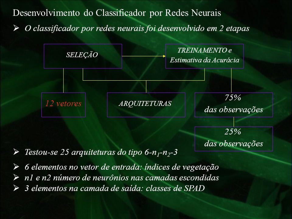 Desenvolvimento do Classificador por Redes Neurais O classificador por redes neurais foi desenvolvido em 2 etapas SELEÇÃO TREINAMENTO e Estimativa da