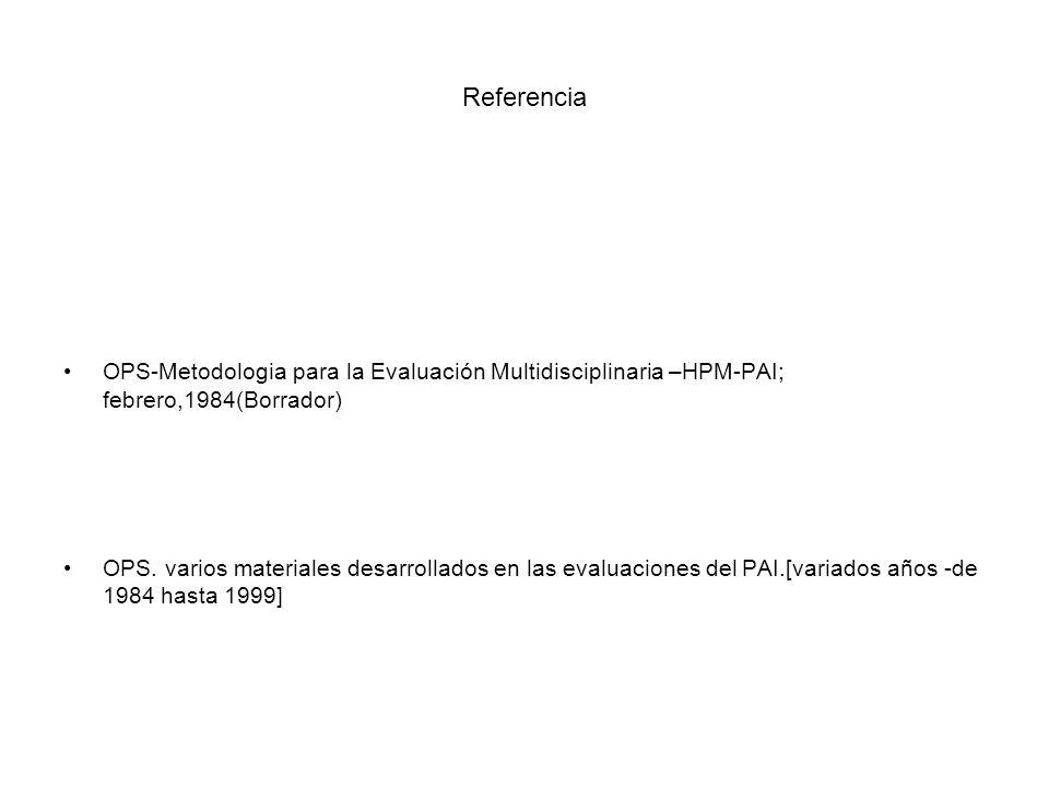 Referencia OPS-Metodologia para la Evaluación Multidisciplinaria –HPM-PAI; febrero,1984(Borrador) OPS. varios materiales desarrollados en las evaluaci