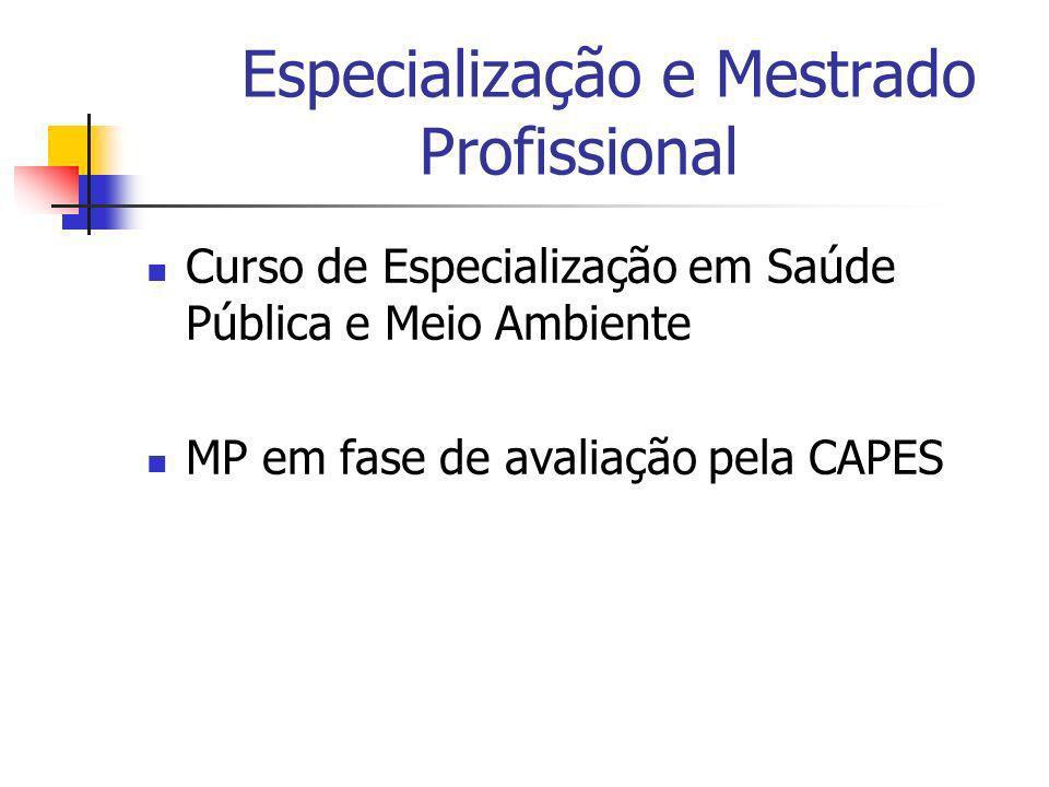 Especialização e Mestrado Profissional Curso de Especialização em Saúde Pública e Meio Ambiente MP em fase de avaliação pela CAPES