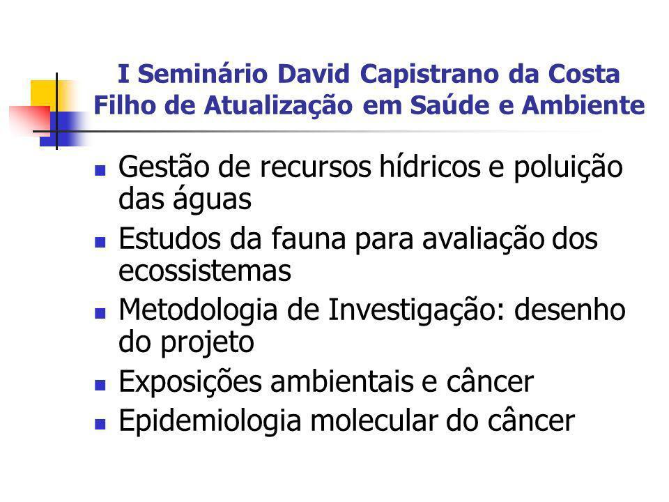 I Seminário David Capistrano da Costa Filho de Atualização em Saúde e Ambiente Gestão de recursos hídricos e poluição das águas Estudos da fauna para