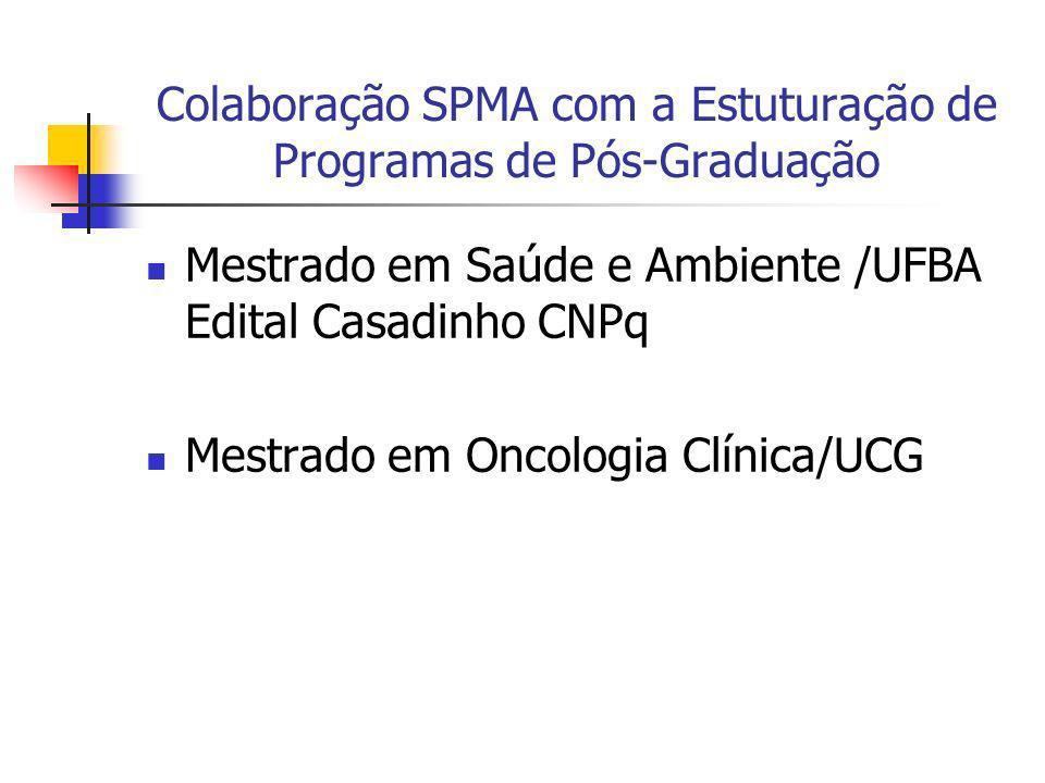 Colaboração SPMA com a Estuturação de Programas de Pós-Graduação Mestrado em Saúde e Ambiente /UFBA Edital Casadinho CNPq Mestrado em Oncologia Clínic