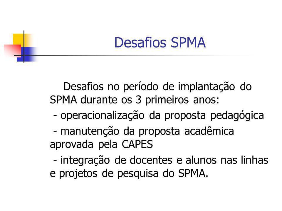 Desafios SPMA Desafios no período de implantação do SPMA durante os 3 primeiros anos: - operacionalização da proposta pedagógica - manutenção da propo