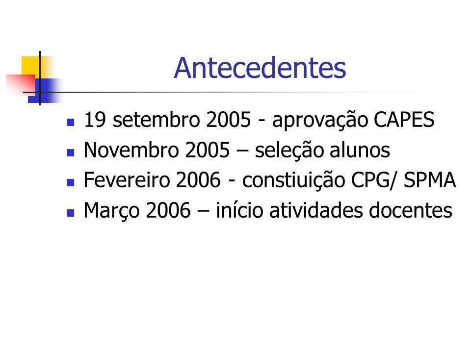 Antecedentes 19 setembro 2005 - aprovação CAPES Novembro 2005 – seleção alunos Fevereiro 2006 - constiuição CPG/ SPMA Março 2006 – início atividades d