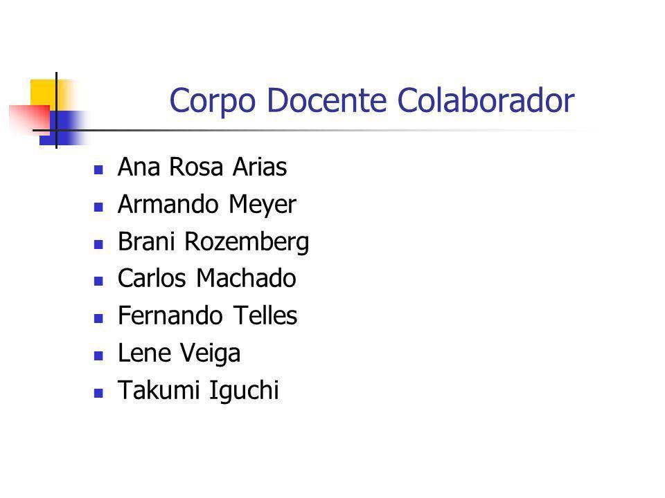 Corpo Docente Colaborador Ana Rosa Arias Armando Meyer Brani Rozemberg Carlos Machado Fernando Telles Lene Veiga Takumi Iguchi
