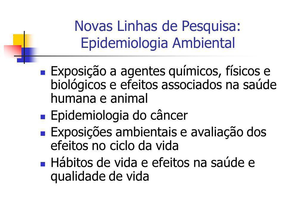 Novas Linhas de Pesquisa: Epidemiologia Ambiental Exposição a agentes químicos, físicos e biológicos e efeitos associados na saúde humana e animal Epi