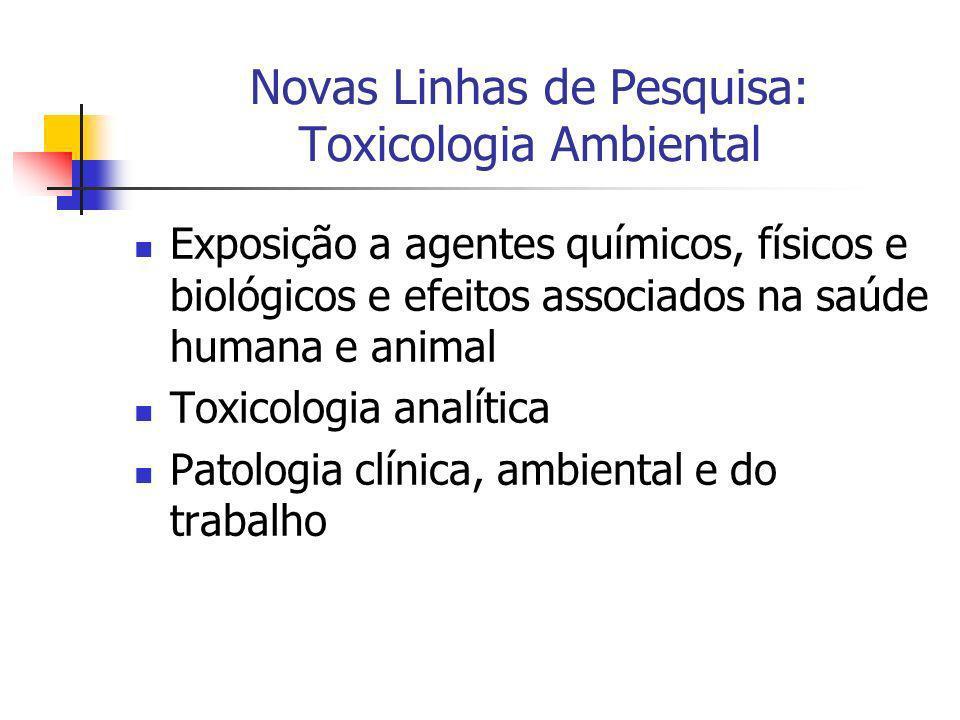 Novas Linhas de Pesquisa: Toxicologia Ambiental Exposição a agentes químicos, físicos e biológicos e efeitos associados na saúde humana e animal Toxic