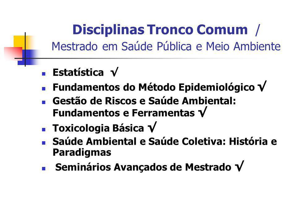 Disciplinas Tronco Comum / Mestrado em Saúde Pública e Meio Ambiente Estatística Fundamentos do Método Epidemiológico Gestão de Riscos e Saúde Ambient