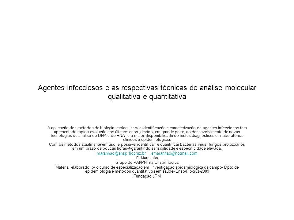 Agentes infecciosos e as respectivas técnicas de análise molecular qualitativa e quantitativa A aplicação dos métodos de biologia molecular p/ a ident