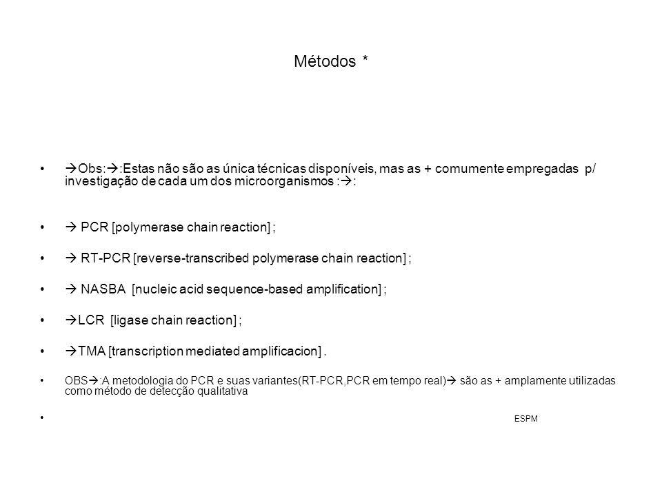 Métodos * Obs: :Estas não são as única técnicas disponíveis, mas as + comumente empregadas p/ investigação de cada um dos microorganismos : : PCR [pol