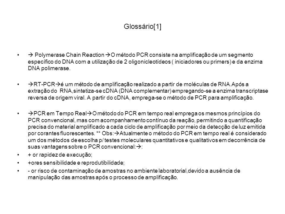Glossário[1] Polymerase Chain Reaction O método PCR consiste na amplificação de um segmento específico do DNA com a utilização de 2 oligonicleotídeos