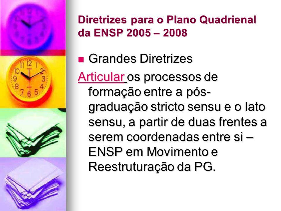 Diretrizes para o Plano Quadrienal da ENSP 2005 – 2008 Grandes Diretrizes Grandes Diretrizes ArticularArticular os processos de formação entre a pós- graduação stricto sensu e o lato sensu, a partir de duas frentes a serem coordenadas entre si – ENSP em Movimento e Reestruturação da PG.