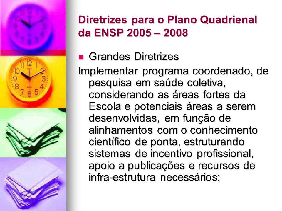 Diretrizes para o Plano Quadrienal da ENSP 2005 – 2008 Grandes Diretrizes Grandes Diretrizes Implementar programa coordenado, de pesquisa em saúde coletiva, considerando as áreas fortes da Escola e potenciais áreas a serem desenvolvidas, em função de alinhamentos com o conhecimento científico de ponta, estruturando sistemas de incentivo profissional, apoio a publicações e recursos de infra-estrutura necessários;