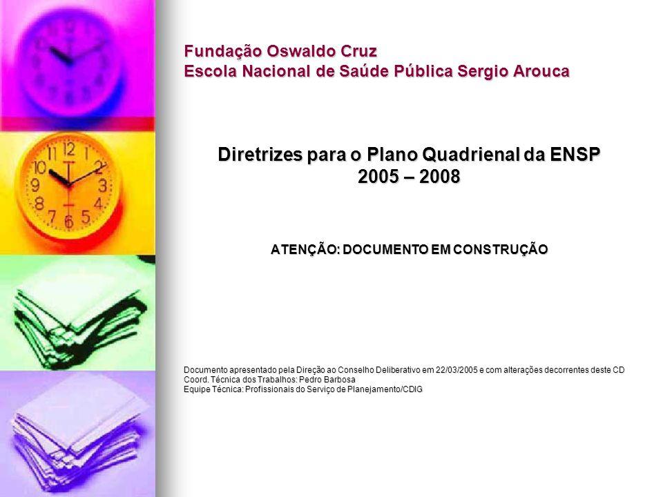 Diretrizes para o Plano Quadrienal da ENSP 2005 – 2008 Porque planejamento.