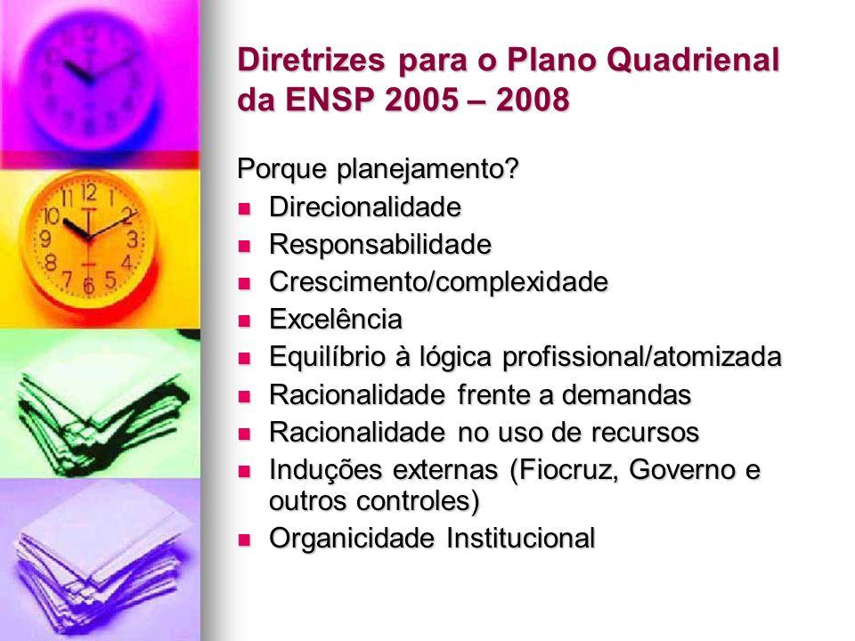 Diretrizes para o Plano Quadrienal da ENSP 2005 – 2008 Grandes Diretrizes Grandes Diretrizes Reavaliar e reestruturar as linhas de pesquisa, a partir de uma melhor interação com os grupos de pesquisa cadastrados no CNPq, visando maior equilíbrio entre as linhas, os grupos de pesquisa e as subáreas do programa de pós-graduação;