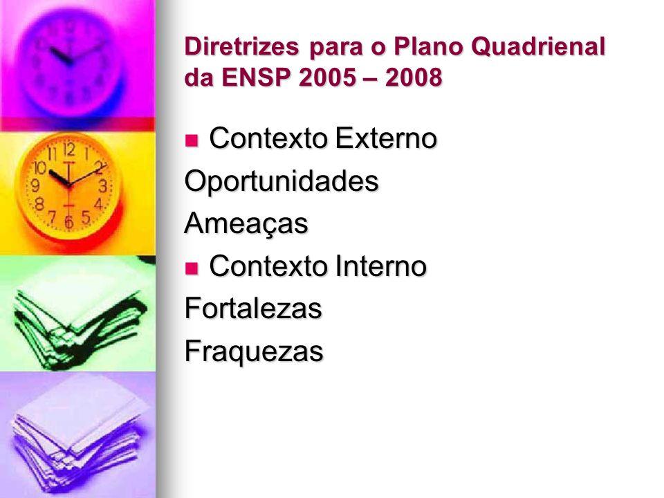 Diretrizes para o Plano Quadrienal da ENSP 2005 – 2008 Contexto Externo Contexto ExternoOportunidadesAmeaças Contexto Interno Contexto InternoFortalezasFraquezas