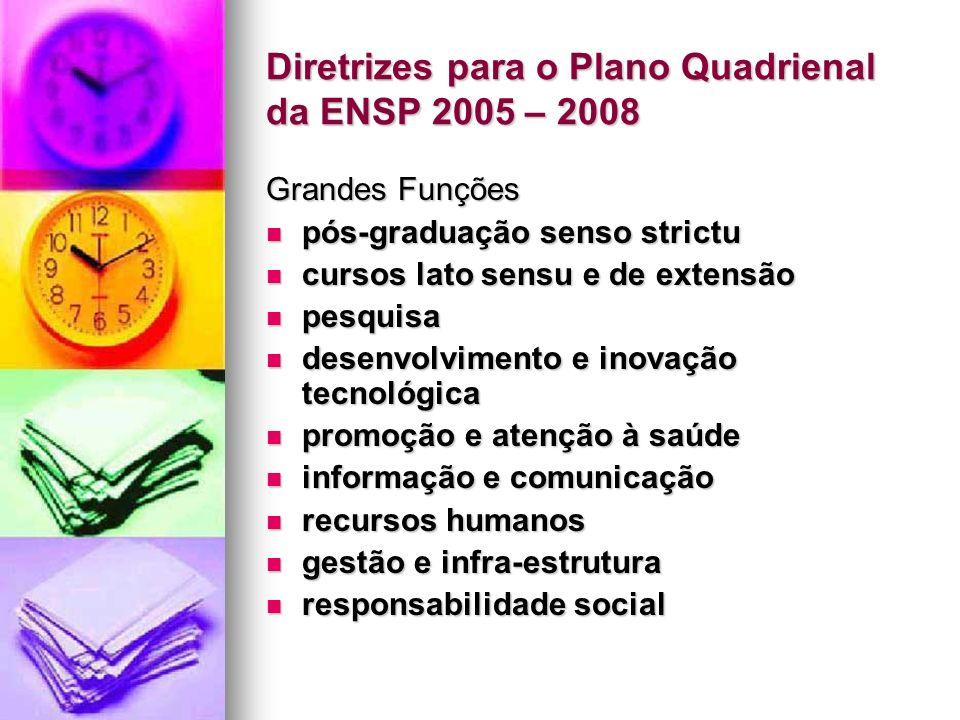 Diretrizes para o Plano Quadrienal da ENSP 2005 – 2008 Grandes Diretrizes Manter o Programa de Mestrado e Doutorado da ENSP no topo da classificação CAPES, consolidando e integrando os programas de ensino e pesquisa como modelos de excelência acadêmica em saúde coletiva no país.