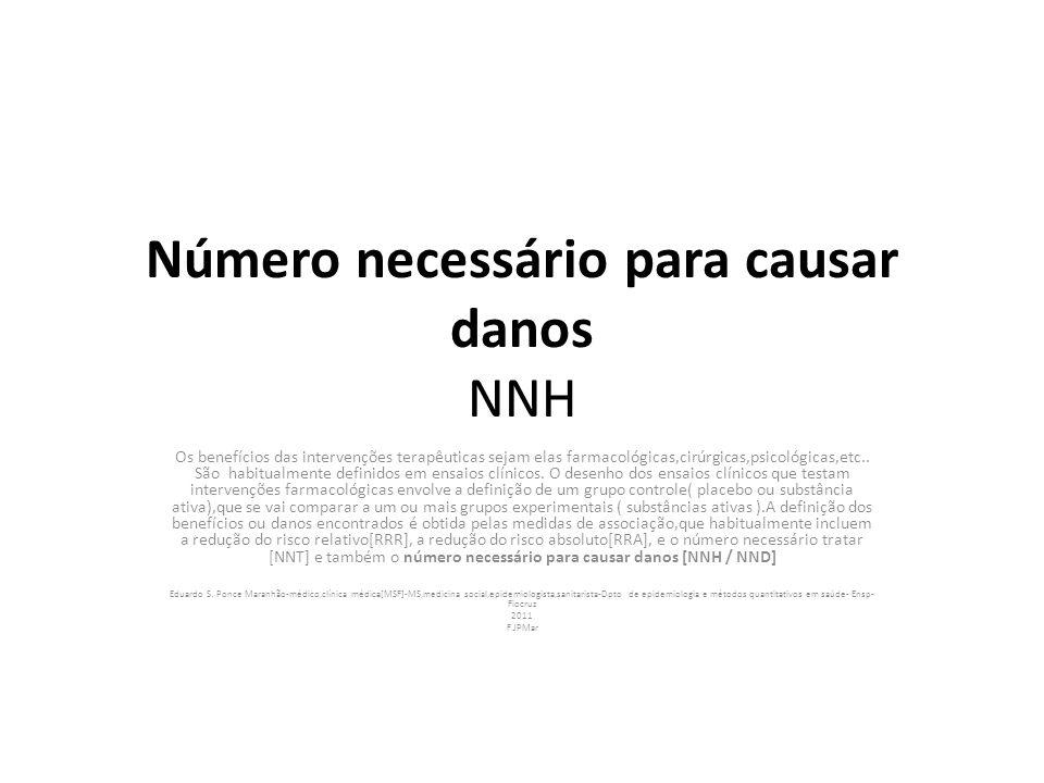 Número necessário para causar danos NNH Os benefícios das intervenções terapêuticas sejam elas farmacológicas,cirúrgicas,psicológicas,etc.. São habitu