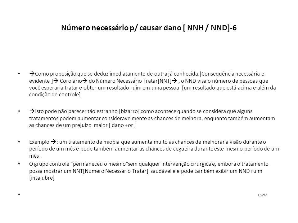 Número necessário para causar danos[NNH / NND]-7 Se calcula o NND [Número Necessário p/ causar Dano] subtraindo-se o controle da freqüência de eventos condição p/ piorar (deterioração) e dividindo 1 pelo número resultante.