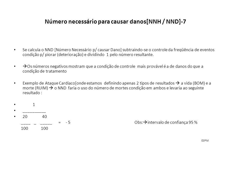 Número necessário para causar danos[NNH / NND]-7 Se calcula o NND [Número Necessário p/ causar Dano] subtraindo-se o controle da freqüência de eventos