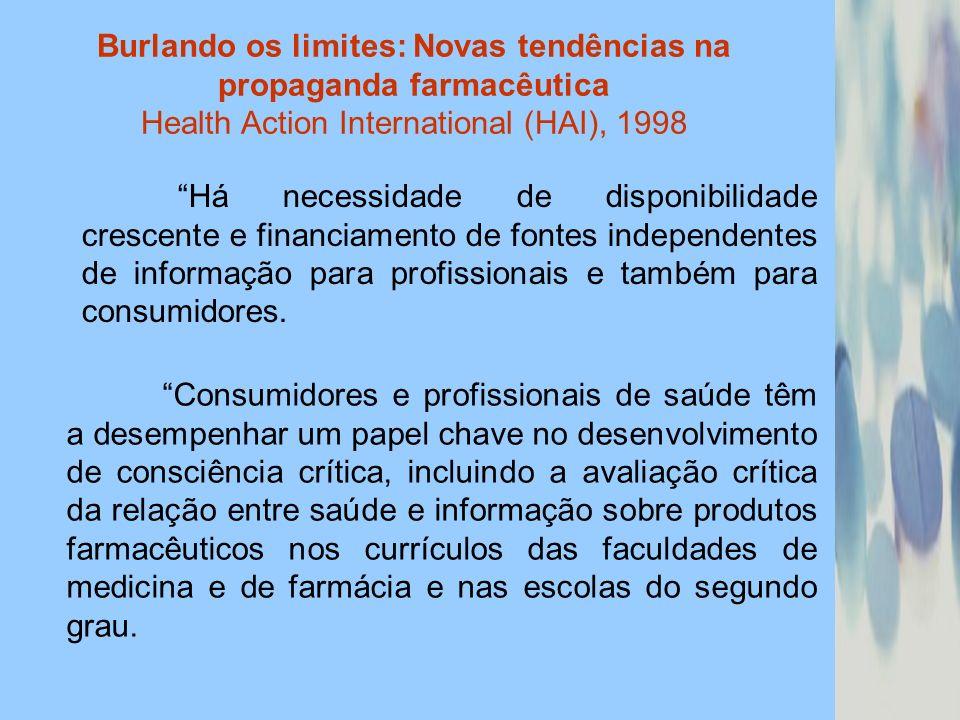Burlando os limites: Novas tendências na propaganda farmacêutica Health Action International (HAI), 1998 Há necessidade de disponibilidade crescente e