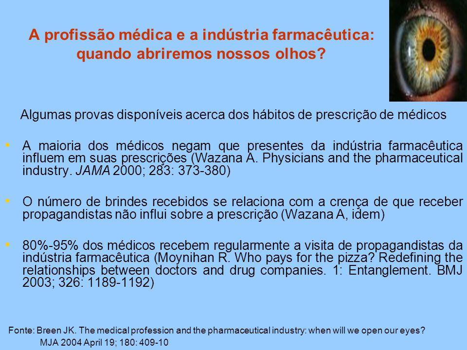 A profissão médica e a indústria farmacêutica: quando abriremos nossos olhos? Algumas provas disponíveis acerca dos hábitos de prescrição de médicos A