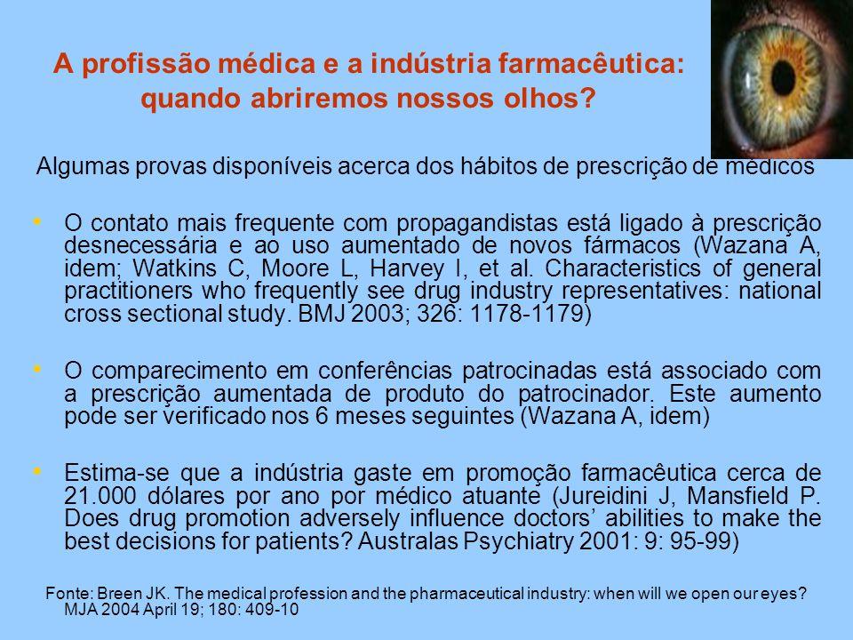 A profissão médica e a indústria farmacêutica: quando abriremos nossos olhos? Algumas provas disponíveis acerca dos hábitos de prescrição de médicos O