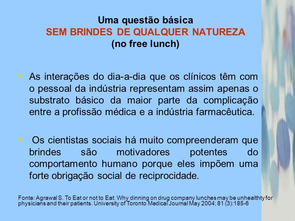 Uma questão básica SEM BRINDES DE QUALQUER NATUREZA (no free lunch) As interações do dia-a-dia que os clínicos têm com o pessoal da indústria represen