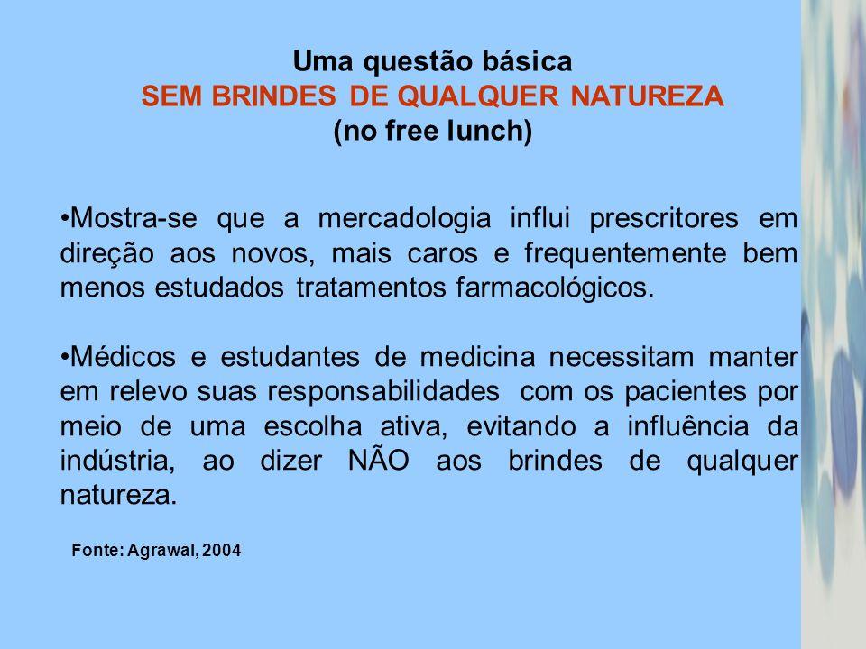 Uma questão básica SEM BRINDES DE QUALQUER NATUREZA (no free lunch) Mostra-se que a mercadologia influi prescritores em direção aos novos, mais caros