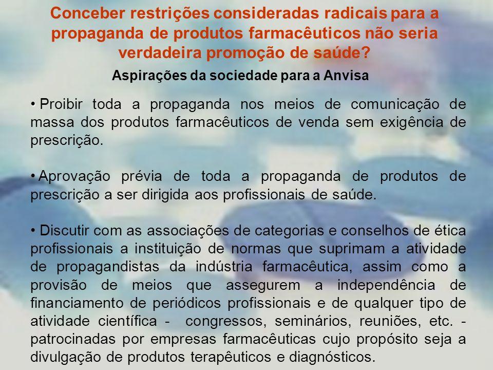 Conceber restrições consideradas radicais para a propaganda de produtos farmacêuticos não seria verdadeira promoção de saúde? Aspirações da sociedade