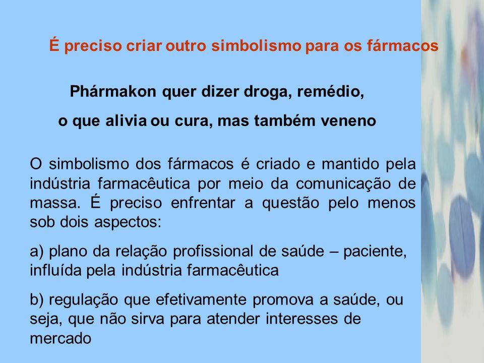 É preciso criar outro simbolismo para os fármacos Phármakon quer dizer droga, remédio, o que alivia ou cura, mas também veneno O simbolismo dos fármac
