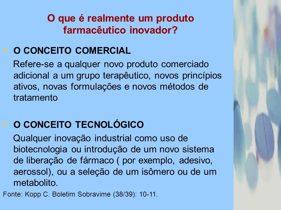 O que é realmente um produto farmacêutico inovador? O CONCEITO COMERCIAL Refere-se a qualquer novo produto comerciado adicional a um grupo terapêutico